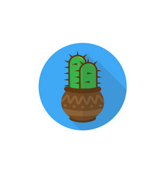 icon with a cactus in a beautiful pot vector image