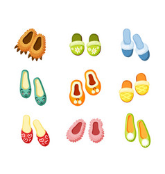 Indoor slippers set comfortable green vector