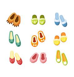 indoor slippers set comfortable green with vector image