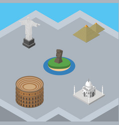 Isometric travel set of egypt coliseum india vector