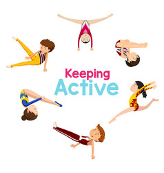 keeping active logo with gymnastics athlete vector image