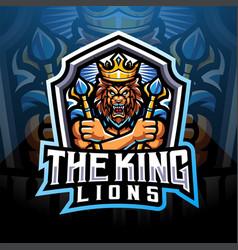 King lions esport mascot logo design vector