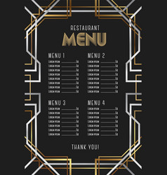 Luxury vintage artdeco restaurant menu template vector