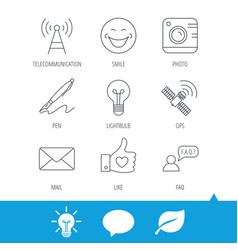 mail photo camera and lightbulb icons vector image