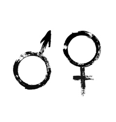 Male Female Symbols Grunge Painted Style vector