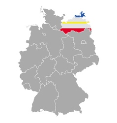 Map of Germany with flag of Mecklenburg-Vorpommern vector image vector image