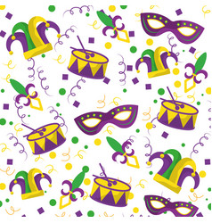 Mardi gras fleur de lis mask jester hat and drum vector