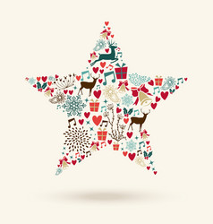 Merry Christmas star shape vector image