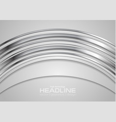 metal silver arc abstract tech background vector image