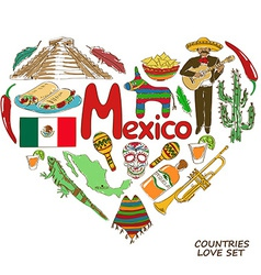 Mexican symbols in heart shape concept vector image
