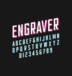 Modern engraved font vector