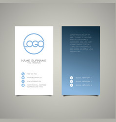 modern simple vertical business card template vector image