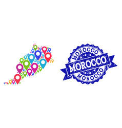 Mosaic map of morocco with map pins and distress vector