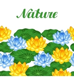Natural seamless border with lotus flowers and vector image