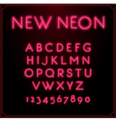 Neon Font Type Alphabet Glowing in With Numbers vector image