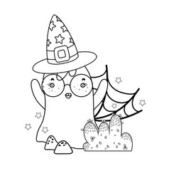 Outline ghost wearing glasses with witch hat vector