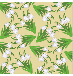 Pattern with hand-drawn snowdrops vector