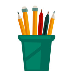 pencils with rubbers on top in glass cup vector image