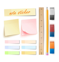 Post note sticker isolated set memory vector