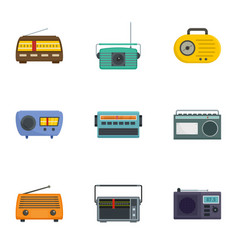 radio receiving station icons set cartoon style vector image