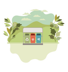 Recycling baskets with landscape isolated icon vector