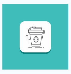 Round button for product promo coffee cup brand vector