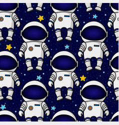 Seamless cartoon space pattern with astronauts vector