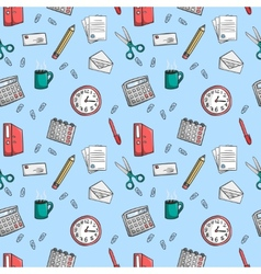 Seamless office stationery pattern background vector