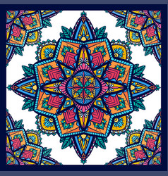 seamless pattern coloring mandalas on white vector image