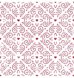 Seamless pattern with hearts in red vector image