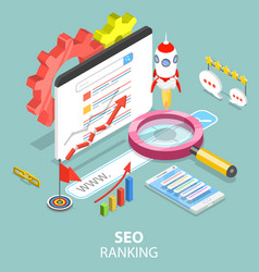 seo ranking flat isometric concept vector image