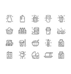 set of dairy products line icons milk cream vector image
