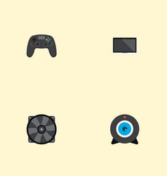set of pc icons flat style symbols with laptop vector image