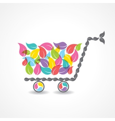 shopping cart with group of colorful leaf vector image