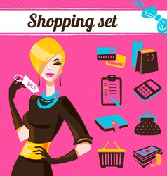 Shopping set infographics of fashion women vector