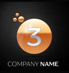 silver number three logo gold dots splash bubble vector image