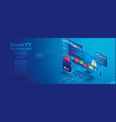 smart tv technology isometric concept remote vector image