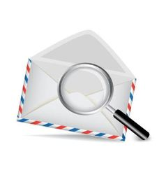 striped envelope and magnifying glass vector image