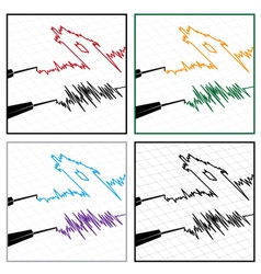stylized seismograms vector image