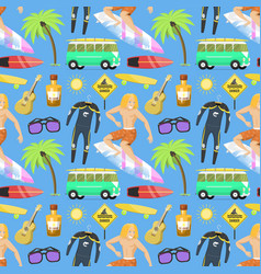surfing active water sport seamless pattern vector image
