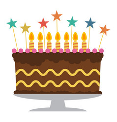 sweet birthday cake with seven burning candles vector image