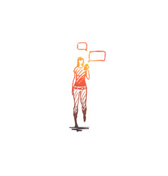 teenager girl smartphone walk chatting vector image