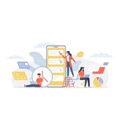 Time management office teamwork around big vector
