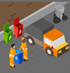 Trash pickup isometric composition vector