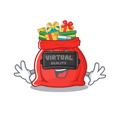 virtual reality santa claus bag with character vector image