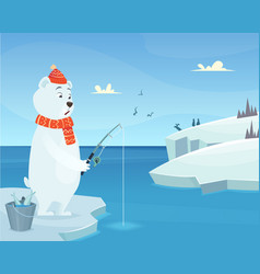 White bear background iceberg ice winter animal vector