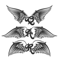 winged letters set vector image