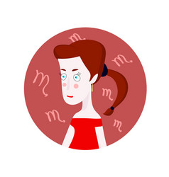 Woman cartoon portrait representing scorpio zodiac vector