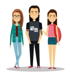 Young people group avatars characters vector