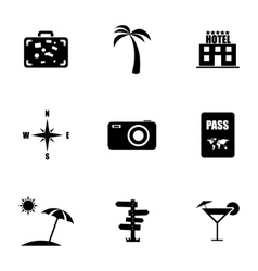 black travel icons set vector image vector image